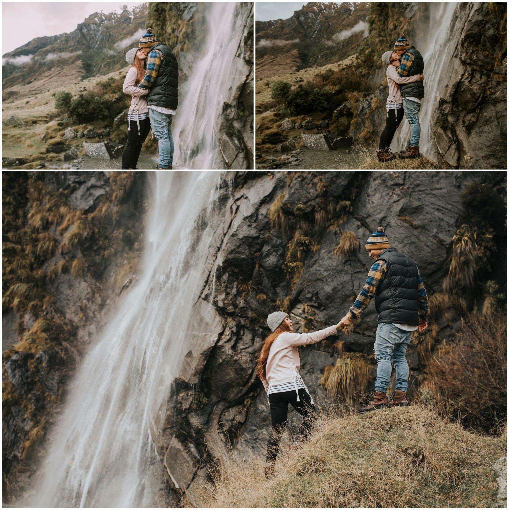 Wanaka waterfall couples photography